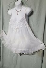 VENTURA SEXY WHITE NYLON LINED BABY DOLL NIGHTGOWN  1X WOMENS PLUS SIZE