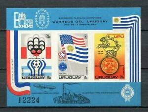 39110) URUGUAY 1975 MNH** World Cup Football S/S Espamer Imperforated