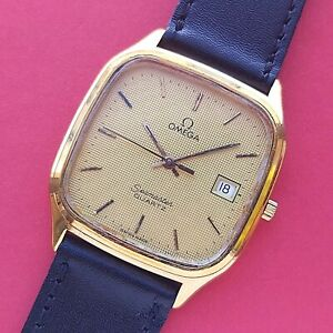 1980s Omega Seamaster Textured waffle dial vintage tank Watch 196.023 mens Swiss