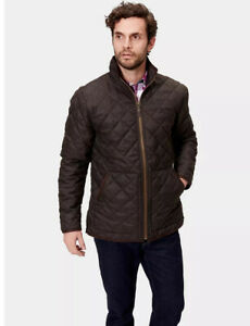 Men's JOULES bark brown quilted zip front ESTATE jacket L check cotton lining