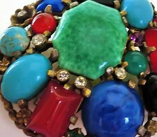 Antique Huge Art Deco Dress Fur clip brooch peking glass carnelian glass divp