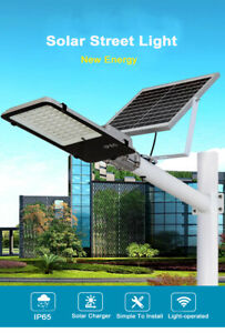 100W LED Solar Street Light 4000LUM Road Lamp Outdoor Garden  With Pole&Remote