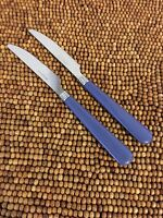 "Mainstays Stainless Flatware Blue Denim Plastic Handle Flair 2 DINNER KNIVES 8"""