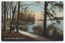 NJ ~ Folks Walking along Pathway LAKEWOOD New Jersey 1910 Ocean County Postcard