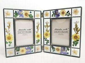 Vtg Frame Glass Dried Pressed Flowers Double 2 Folding Hinged Cottage Boho Decor