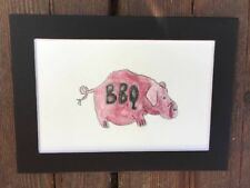 BARBECUE PIG Watercolor PAINTING Original BBQ Ribs Summer Kitchen Decor Man Cave