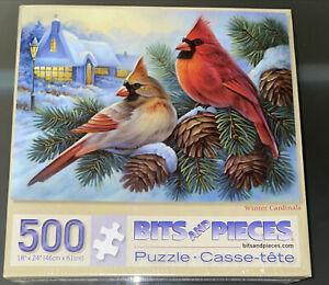 NEW SEALED Bits & Pieces Winter Cardinals 500 Piece Jigsaw Puzzle Oleg Gavrilov