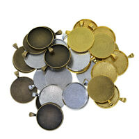120x Blank Round Connector Tray 25//30mm Pendant Cameo Bezel Cabochon Setting