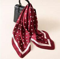 Foulard Femme Carré Rouge Bordeaux Pois Blancs Effet Soie - Bijoux des Lys