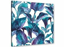 Turquoise and White Tropical Leaves Canvas Wall Art Print - 79cm Square - 1s323l