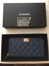 Brand New Chanel Boy Caviar Blue Gold hardware Zip Around Long Wallet Clutch