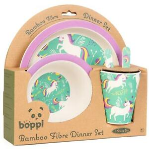 boppi Bamboo Kids Childrens Baby Dinner Set Plate Cup Bowl Cutlery UNICORNS