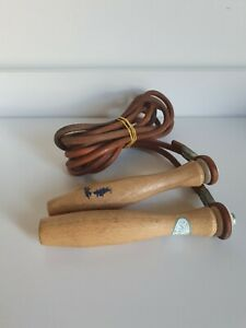 Vintage rare Flexten wooden handle leather strap skipping rope