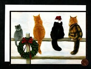 Vintage Cats Fence Snow Wreath - GOLD SHINE Christmas Greeting Card W/ TRACKING