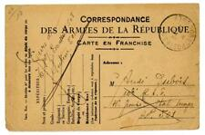 1918 France World War I Military stationery postcard