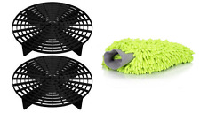 The Grit Guard Insert 2 Pack ( black) with Chenille Microfiber Wash Mitt