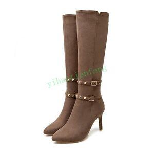 Pointy Toe Women Stiletto High Heel Shoes Casual Rivet Buckle Zip Knee High Boot