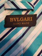 BVLGARI TIE Necktie Handmade Striped Turquoise Silver Navy Blue White Classic