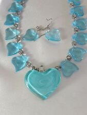 BLUE GLASS HEARTS STATEMENT NECKLACE/EARRINGS SET