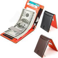 Mens Genuine Leather Money Clip Wallet RFID Blocking Slim Bifold Cash Purses New