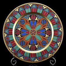 RUSSIAN Imperial Lomonosov Porcelain Decorative Plate Gothic 12 22k Gold Rare