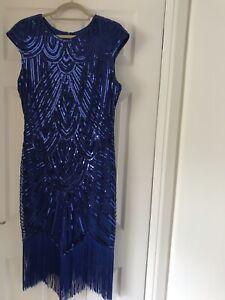 Flapper Style Dress 12-14 Polyester Cobalt Blue Sequinned
