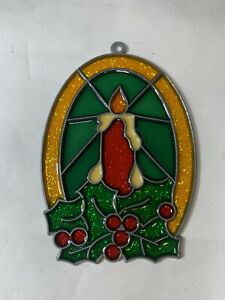 VINTAGE CHRISTMAS CANDLE PLASTIC WINDOW DECORATION STAINED GLASS