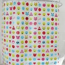 Splash Bath Shower Curtain Peva Vinyl - Winky Emoticons 70 x 72 New