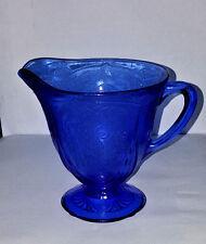 COBALT BLUE ROYAL LACE CREAMER MILK PITCHER HAZEL ATLAS DEPRESSION GLASS