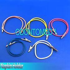 5 Dental Bib Silicone Holder Napkin Clip Yellow,Magenta,Blue,White,Orange Colors