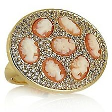 AMEDEO NYC GOLDTONE 8MM CORNELIAN & CZ MULTI-CAMEO PAVE RING SIZE 5 HSN $169.95