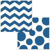 """16 True Blue White Polka Dot Chevron ZigZag Party 5"""" Paper Beverage Napkins"""