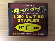 "Genuine Arrow® Precision Made No. T-50® ½"" (12mm) Staples (1,250 per box) New"