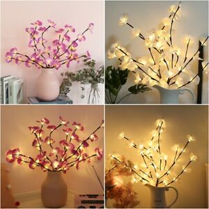 20 LED Orchid Tree Willow Branch Light Lamp Party Home Garden Floral Decoration