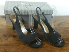 BLACK SAXONE SLINGBACK PEEP TOE SHOES SANDALS SIZE UK 5 EU 38