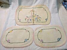 Antique 3 Piece Embroidered Ecru Armchair Linen ~ Textile ~ Antimacassar #1936