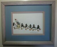 Robert Marble Signed Lithograph Penguins Dare To Be Different Matted Framed