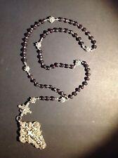 Antico rosario filigrana crocefisso granati
