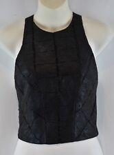 Portmans Crop Top Size 10 M Medium Black Party Textured Stretch SAMPLE RRP$60