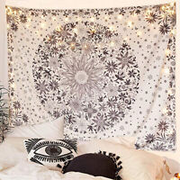 Boho Tapestry Wall Hanging White Floral Retro Tapestry with Dotted Daisy Printed