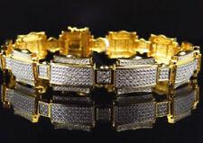 7.58Ct Natural Diamond 14K Solid Yellowgold Wedding Anniversary Bracelet For Men