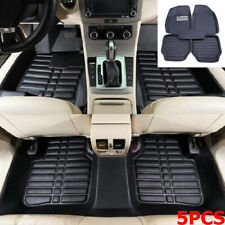 5x Car Floor Mats Front & Rear All Weather Interior Mat Carpet PU Leather Black