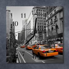 Glass Wall Clock Kitchen Clocks 30x30 cm silent Taxi New York Yellow