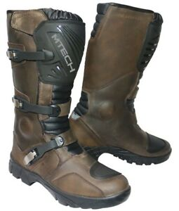 MTECH Adventure Motorcycle Boots Water Proof A Grade Leather Long Boots Brown