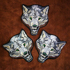 Animal wolf head iron on patches Sew-on embroidered patch motif applique ^