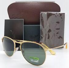 NEW Persol sunglasses PO7649S 106958 56mm Gold Grey Polarized 649 Clubmaster