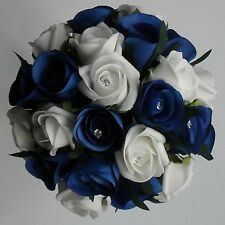 Bride Bridesmaid Wedding Silk Royal Blue White Rose Diamante Flower Bouquet