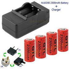 4x16340 2300mAh CR123A Rechargeable Battery Flashlight LED Laser Pointer+Charger