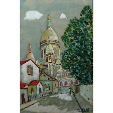 """Vintage French Watercolor,""""Montmartre & the Sacré Cœur"""", Paris, Signed M. Blat"""