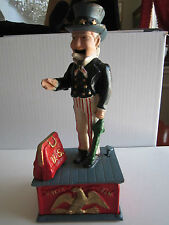 """VINTAGE UNCLE SAM PIGGY BANK - CAST IRON - 11"""" TALL - HEAVY - RY-1"""
